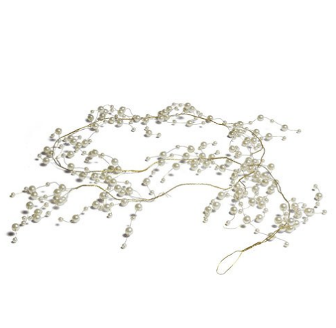 Pearl & Vintage Gold Wire Ornamental Garland (15')-Wedding Decorations-Wedding Star-Sweet Heart Details