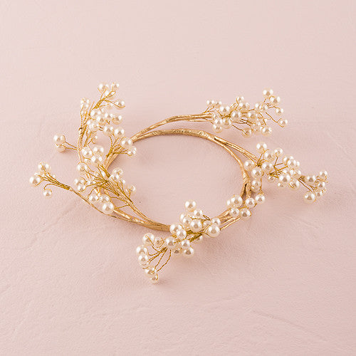 Pearl & Vintage Gold Wire Ornamental Rings - Sweet Heart Details