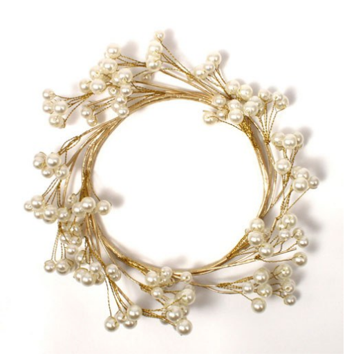 Pearl & Vintage Gold Wire Ornamental Rings-Wedding Decorations-Wedding Star-Sweet Heart Details