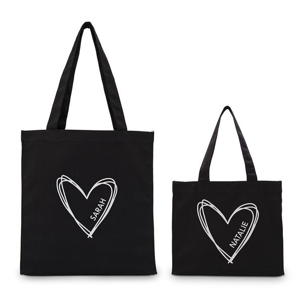 Personalized Heart Gold/Silver Foil Canvas Tote Bag (Small/Large)