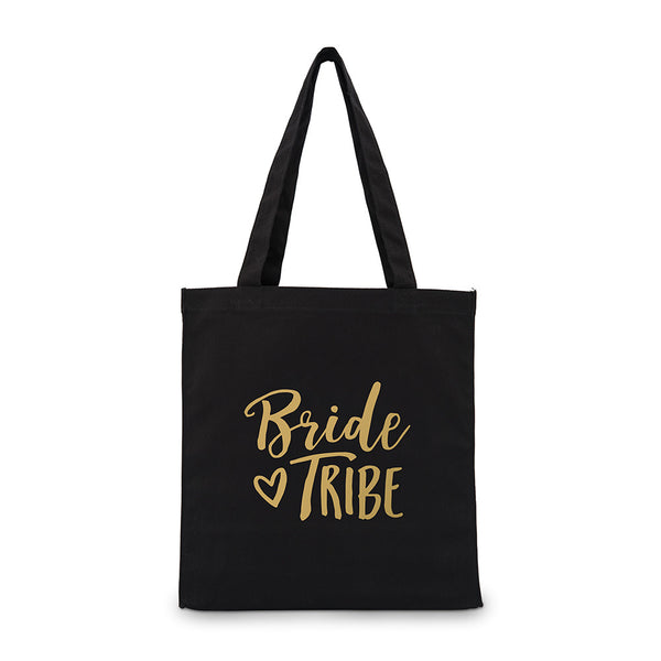 """Bride Tribe"" Gold/Silver Foil Canvas Tote Bag (4)-Bridesmaid Gifts-Wedding Star-Sweet Heart Details"