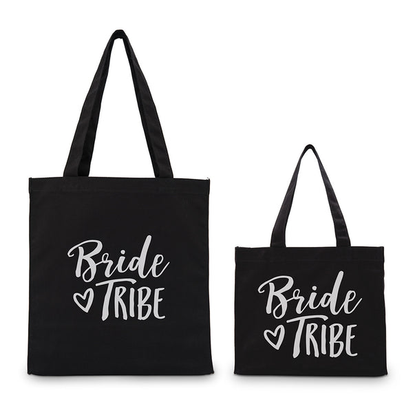"""Bride Tribe"" Gold/Silver Foil Canvas Tote Bag (4)-Bridesmaid Gifts-Wedding Star-9218-10-1285-151-03-Sweet Heart Details"