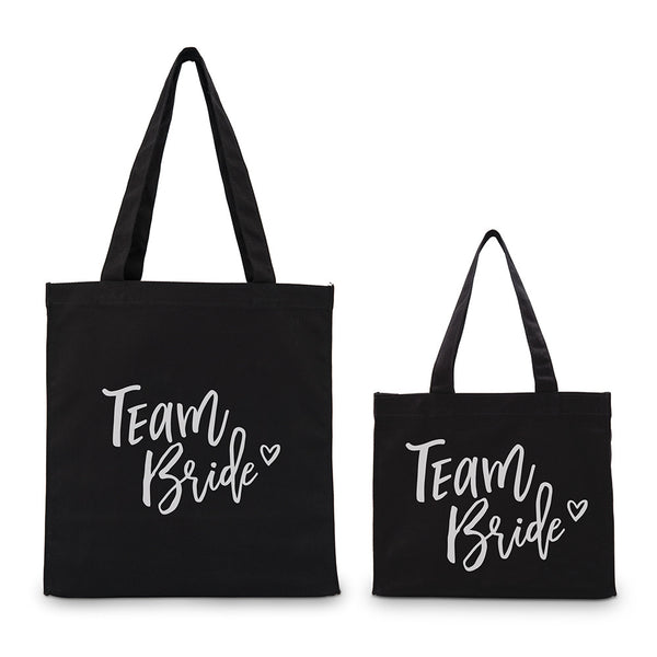 """Team Bride"" Gold/Silver Foil Canvas Tote Bags (4)"