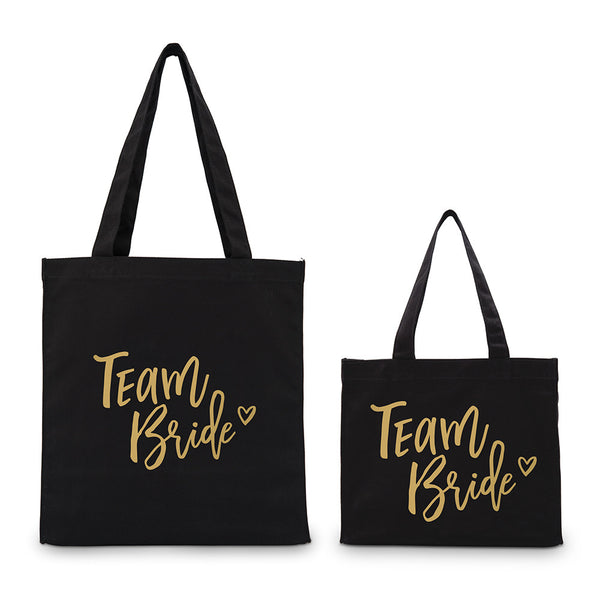 """Team Bride"" Gold/Silver Foil Canvas Tote Bags (4) - Sweet Heart Details"