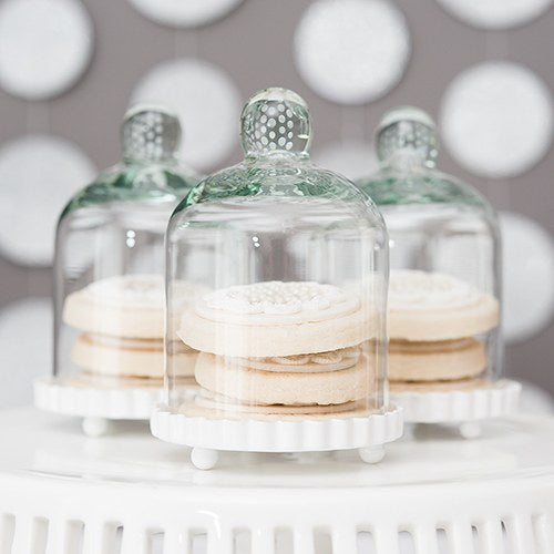 Small Glass Bell Jar With White Base Wedding Favor (20) - Sweet Heart Details