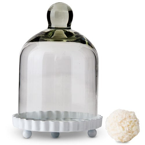Small Glass Bell Jar With White Base Wedding Favor (20)-Wedding Favors & Favor Holders-Wedding Star-Sweet Heart Details