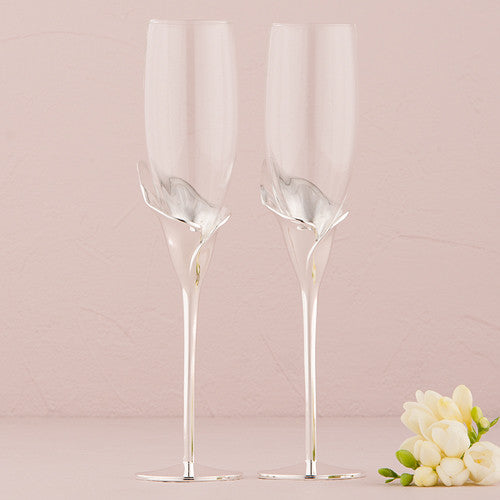 Wedding Champagne Toasting Flutes - Silver Calla Lily Stem