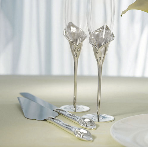 Wedding Cake Serving Set - Silver Calla Lily Stem - Sweet Heart Details