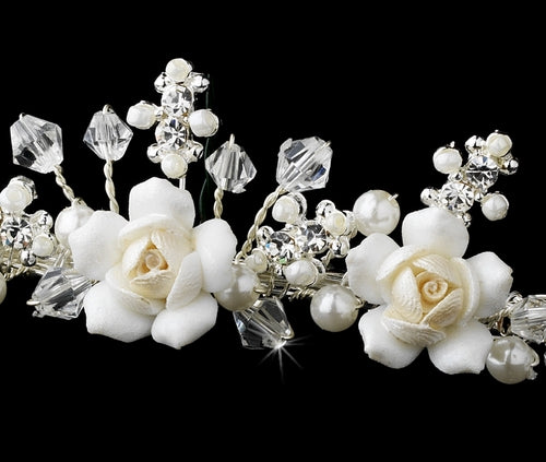 """The Janet"" Childrens Flower Girl Crystal & Ivory Rum Porcelain Tiara-Tiaras & Headbands-Wedding Factory-HP-C-9323-S-RP-Sweet Heart Details"