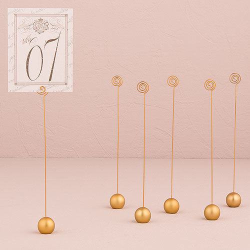 Classic Round Table Number Holder (Gold or Silver) (Set of 6)