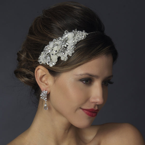 """The Mila"" Ivory Crystal Floral Side Headband"