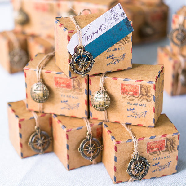 Vintage Inspired Airmail Favor Box Kits with Personalized Tags - Sweet Heart Details