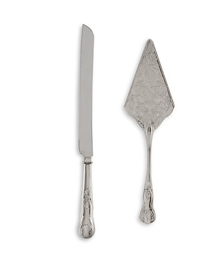 Vintage Inspired Silver Cake Serving Set - Sweet Heart Details