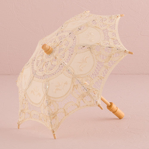 Antiqued Battenburg Lace Parasols (3)-Fans, Parasols & Bouquets-Wedding Star-9533-79-Sweet Heart Details