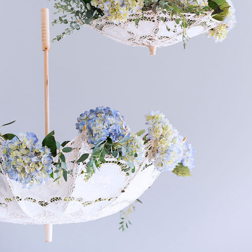 Antiqued Battenburg Lace Parasols (3)-Fans, Parasols & Bouquets-Wedding Star-Sweet Heart Details