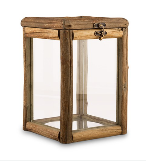 Rustic Wood and Glass Box with Hinged Lid