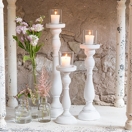 Shabby Chic Spindle Candle Holder Set (Sets of 3)-Wedding Decorations-Wedding Star-Sweet Heart Details