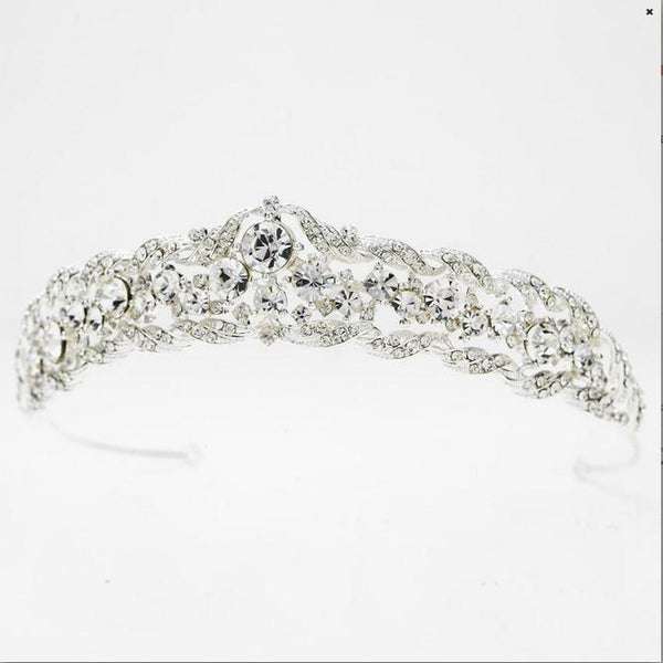 """The Mary"" Regal Clear Crystal & Rhinestone Tiara - Sweet Heart Details"