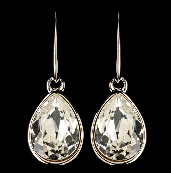"""The Erin"" Swarovski Crystal Element Teardrop Dangle Hook Earrings"