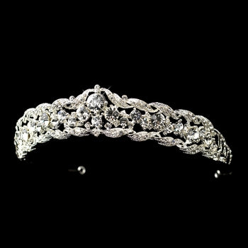 """The Mary"" Regal Clear Crystal & Rhinestone Tiara-Tiaras & Headbands-Wedding Factory-HP-9601-S-CL-Sweet Heart Details"