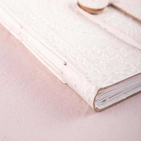 White Leather Bound Bohemian Style Journal & Guest Book - Sweet Heart Details