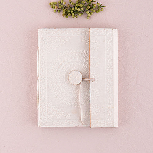White Leather Bound Bohemian Style Journal & Guest Book