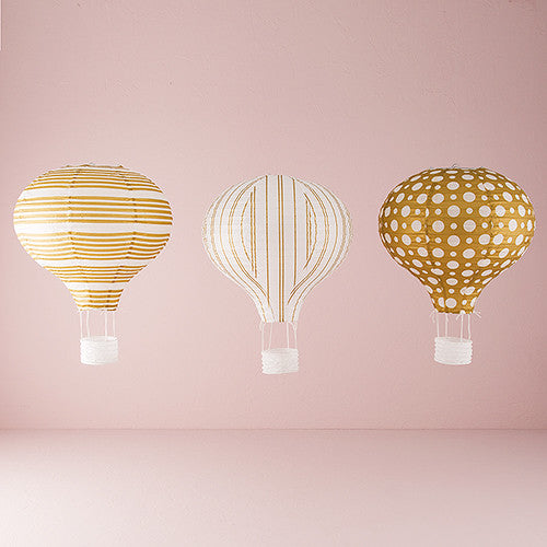 Hot Air Balloon Paper Lantern Set In Gold And White (Pack of 3 lanterns)