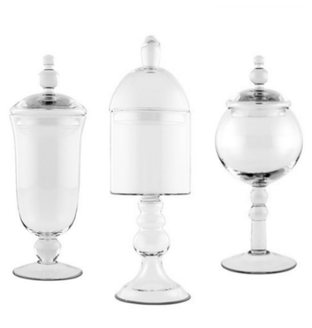 Decorative Pedestaled Apothecary Jars (3)-Wedding Decorations-Wedding Star-9712,3,4 (set 3 styles)-Sweet Heart Details