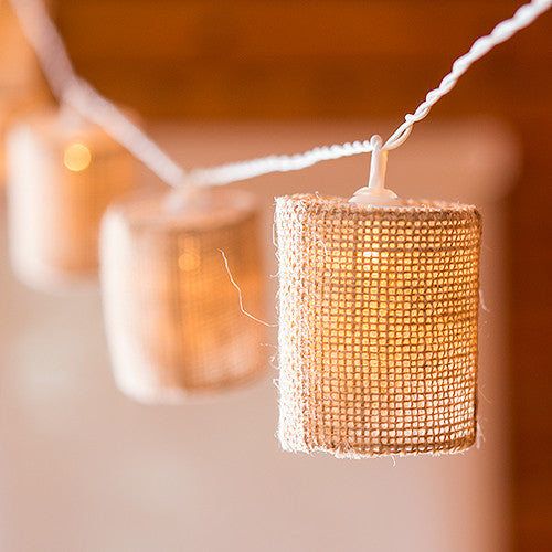 String Of Lights With Natural Burlap Shades - Battery LED