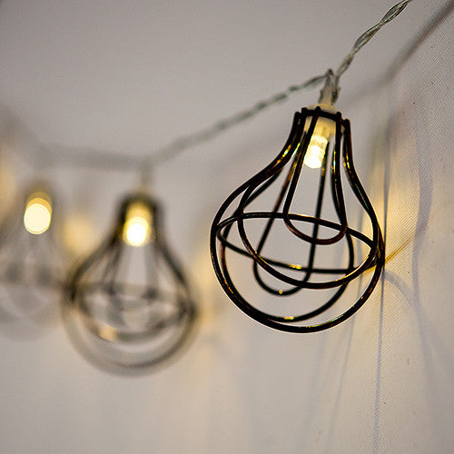 String Of Lights With Light Bulb Wire Cage - Battery LED