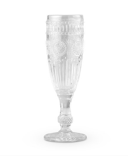 Vintage Inspired Pressed Glass Flute (set of 12)