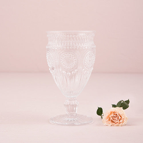 Vintage Inspired Pressed Glass Goblet - set of 12