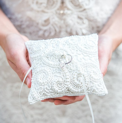 White Beaded Miniature Wedding Ring Pillow