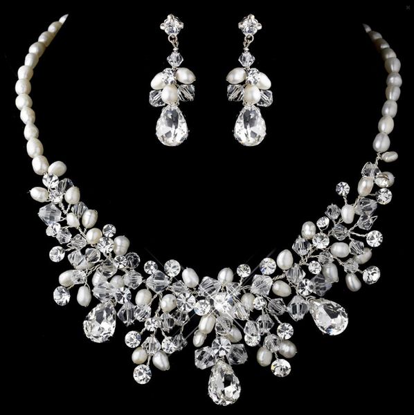 """The Valerie"" Austrian Crystal & Freshwater Pearl Set-Jewelry Sets-Wedding Factory-NE-9783-S-FW-Sweet Heart Details"