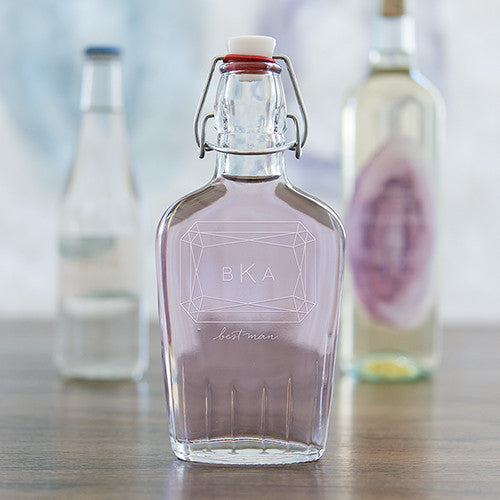 Vintage Inspired Clear Glass Hip Flask - Monogram Gem Etching - Sweet Heart Details