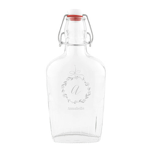 Vintage Inspired Clear Glass Hip Flask - Monogram Etching - Sweet Heart Details