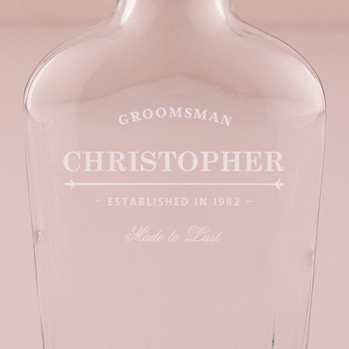 "Groomsmen Glass Flask ""Established Date"" Etching - Sweet Heart Details"