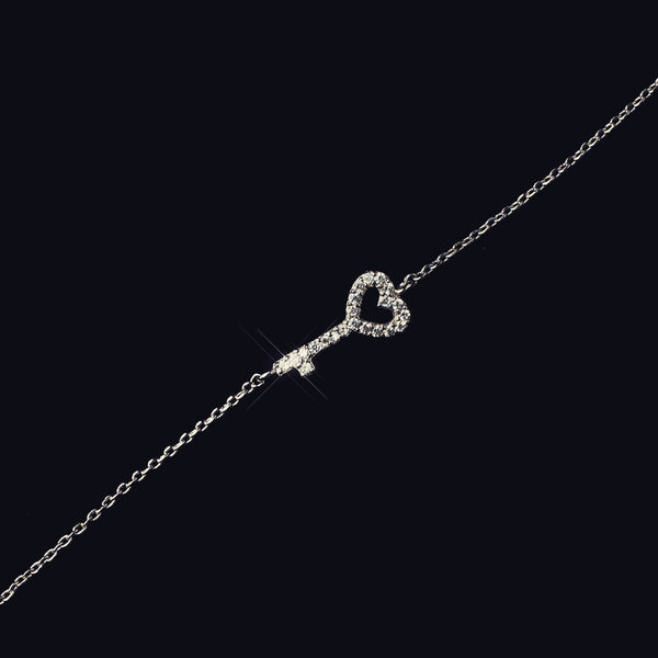 """The  Akiri"" Silver Cubic Zirconia ""Key To My Heart"" Bracelets - Sweet Heart Details"