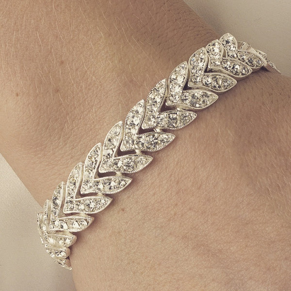 """The Alaya"" Elegant Chevron Rhinestone Bracelet-Bracelets-Wedding Factory-Sweet Heart Details"