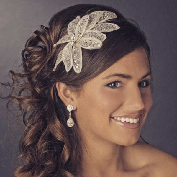 """The Alecia"" Rhinestone Flower Petal Headband - Sweet Heart Details"