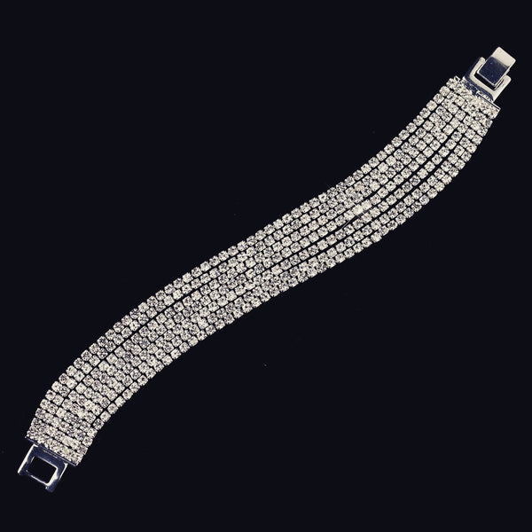 """The Aleeya"" Clear 7 Row Cubic Zirconia Crystal Bracelet"