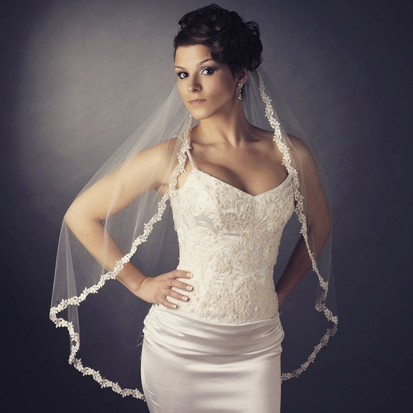 """The Alesia"" Rhinestone & Bead Embroidered Veil"