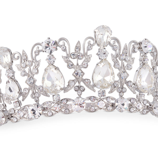 """The Alexandra"" Regal Sparkling Crystal & CZ Tiara-Tiaras & Headbands-Wedding Factory-HP-22260-RD-CL-Sweet Heart Details"
