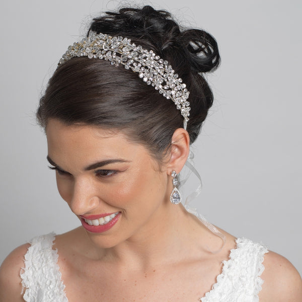 """The Alanna"" Swarovski Crystal Bead Headband-Tiaras & Headbands-Wedding Factory-9200-Sweet Heart Details"