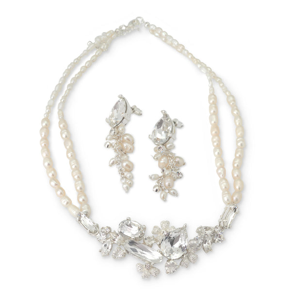 """The Allegra"" Swarovski Crystal & Freshwater Pearl Silver Jewelry Set-Jewelry Sets-Wedding Factory-NE-8238-S-FW-Sweet Heart Details"