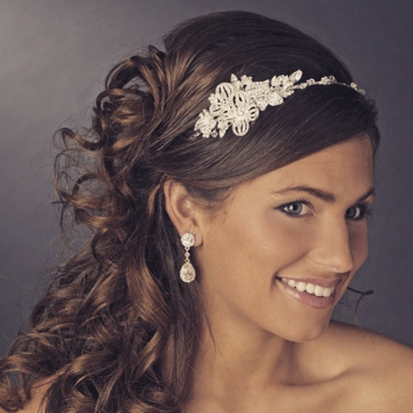 """The Allie"" Swarovski Floral Accent Side Headband-Tiaras & Headbands-Wedding Factory-HP-626-S-CL-Sweet Heart Details"