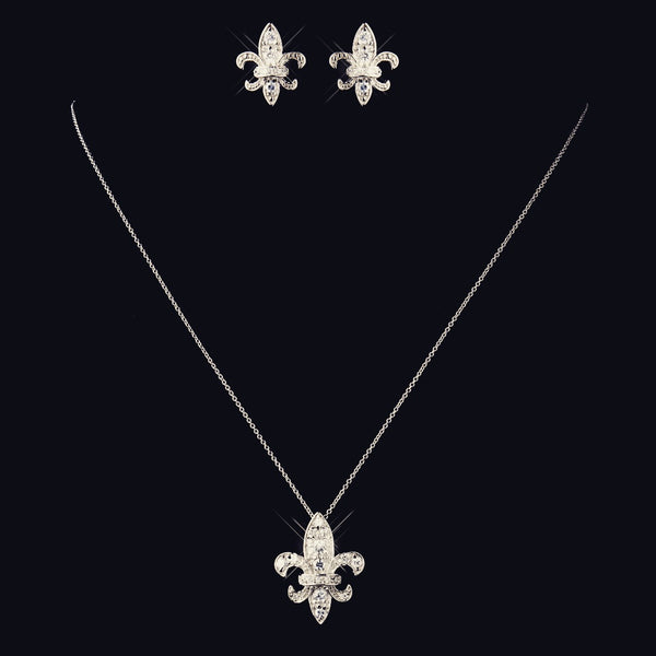 """The Alyssandra"" Solid 925 Sterling Silver CZ Fleur-De-Lis Set"