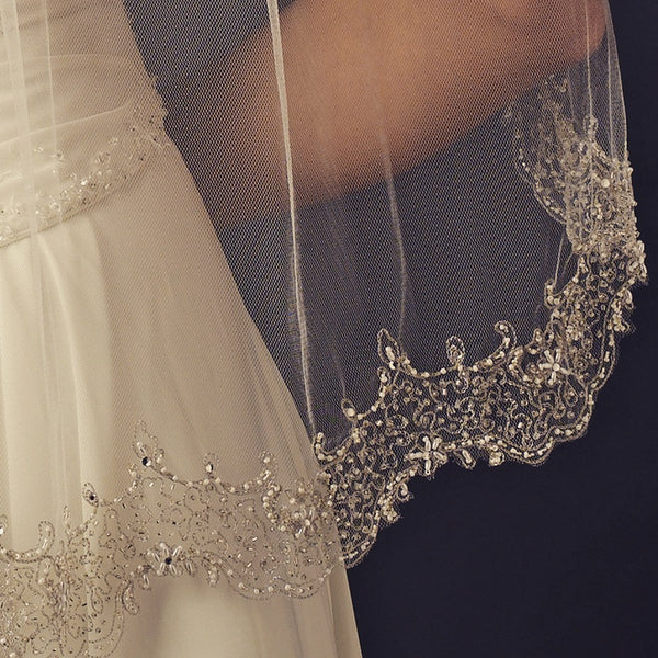 """The Amie"" Shimmering Pearls & Silver/Gold Beads-Veils-Wedding Factory-Sweet Heart Details"