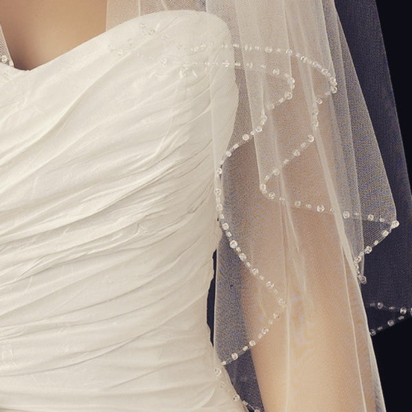 """The Ana"" Double Layer Fingertip Length Veil - Sweet Heart Details"