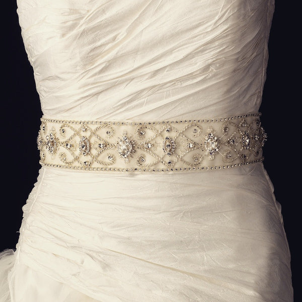 """The Annalee"" Vintage Swarovski & Bead Bridal Belt - Sweet Heart Details"